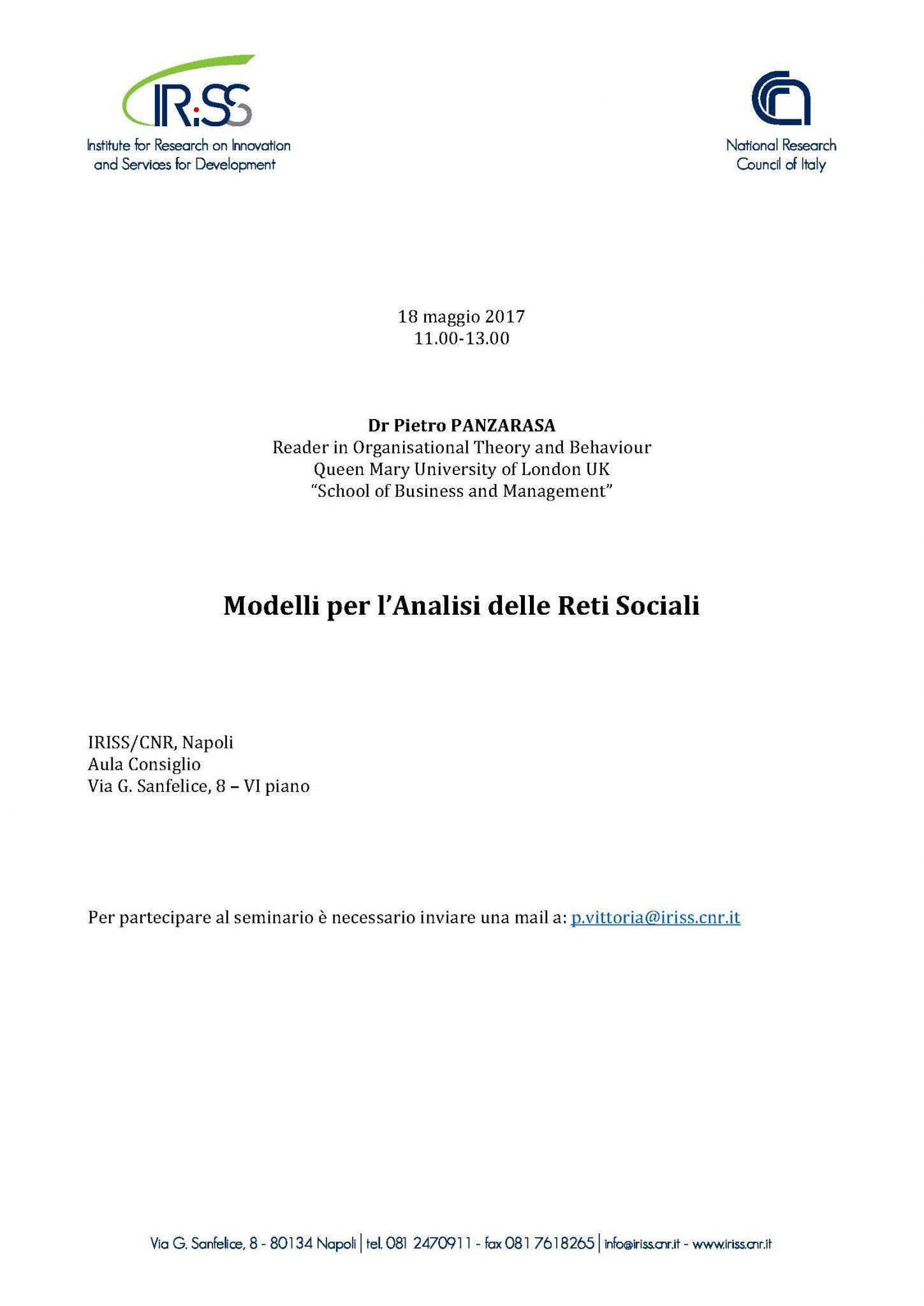 """Seminario scientifico del prof. Pietro Panzarasa su """"Modelli per l'Analisi delle Reti Sociali"""""""