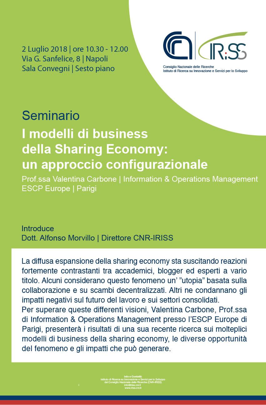 """Seminario """"I modelli di business della Sharing Economy: un approccio configurazionale"""""""