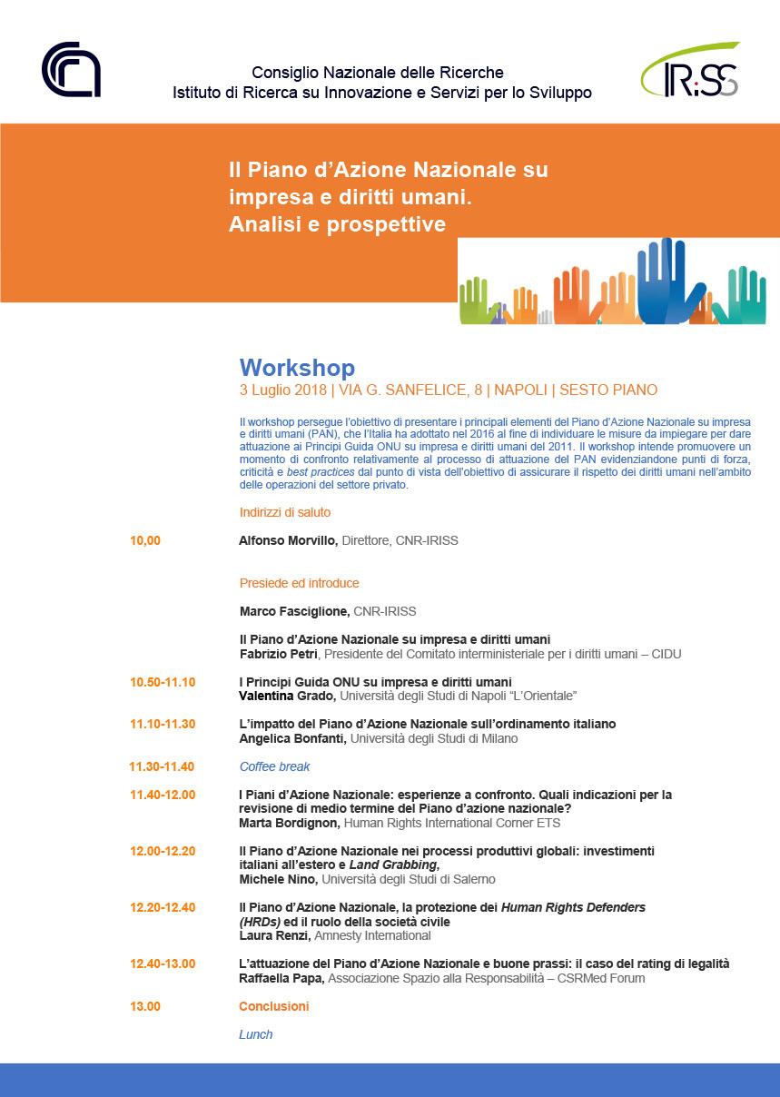 """Workshop """"Il Piano d'Azione Nazionale su impresa e diritti umani. Analisi e prospettive"""""""