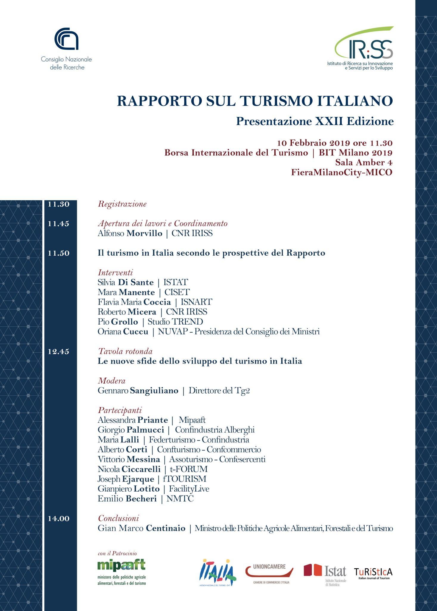 Presentazione del Rapporto sul Turismo Italiano (XXII EDIZIONE - 2017/2018)