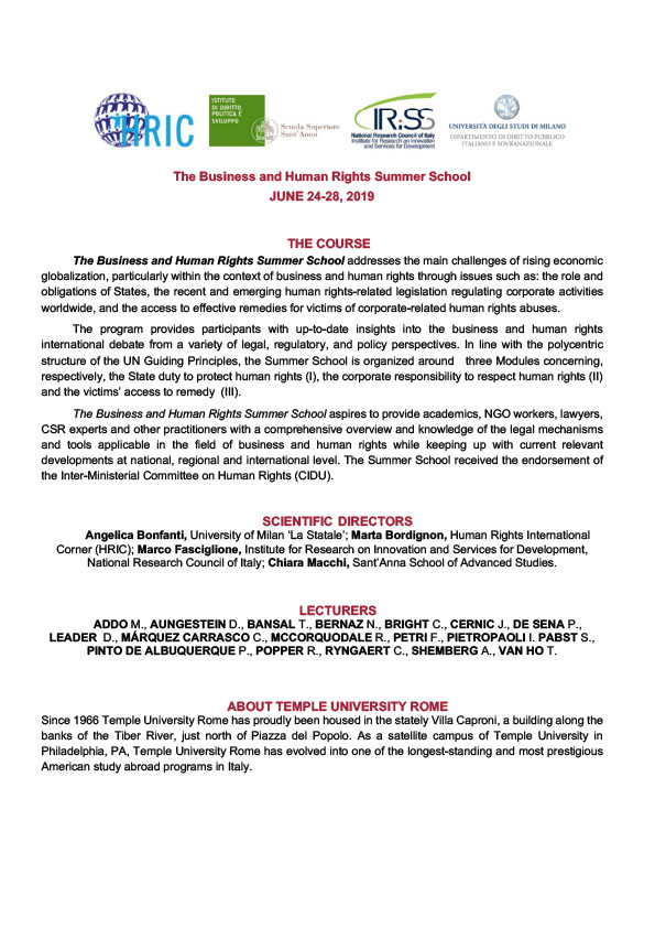 Business and Human Rights Summer School 2019