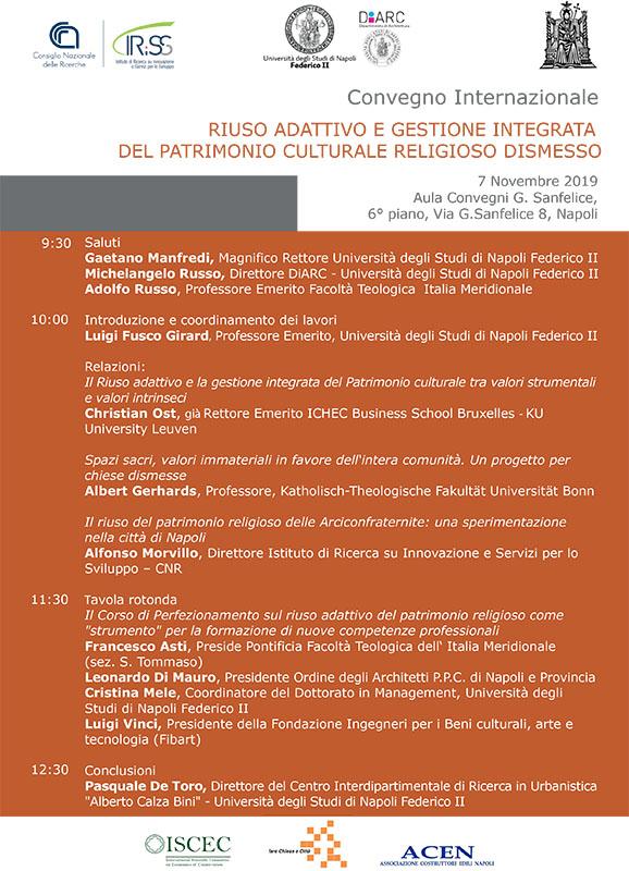 """Convegno Internazionale su """"Riuso adattivo e gestione integrata del patrimonioculturale religioso dismesso"""""""